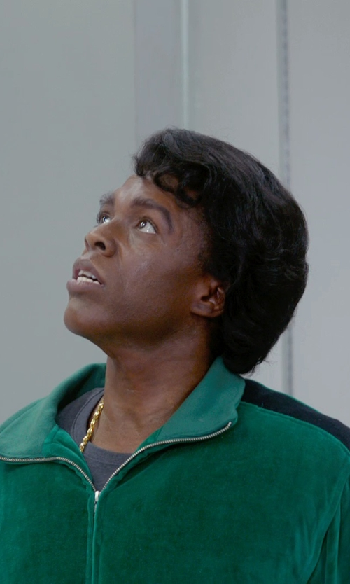Chadwick Boseman with Sweatsedo Green Mens Velour Track Jacket with Gold Piping in Get On Up