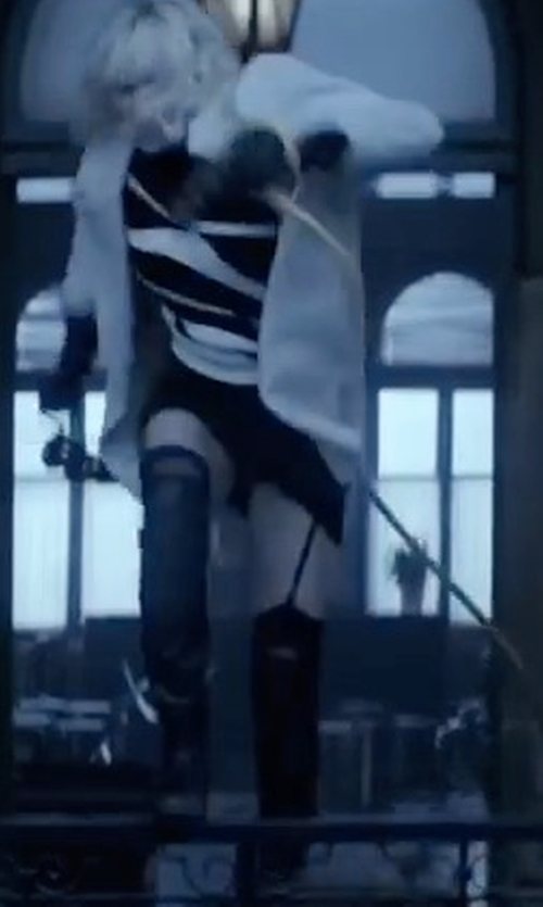 Charlize Theron with Toni Pons 'Tallin' Over-The-Knee Riding Boots in Atomic Blonde