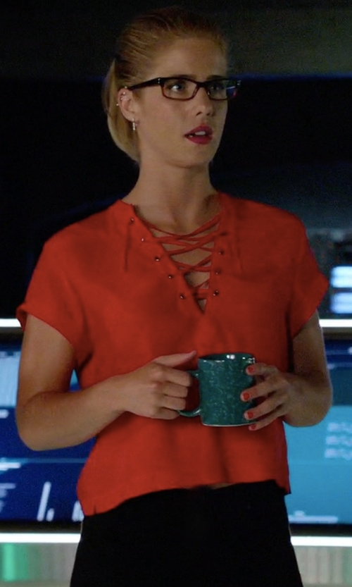 Emily Bett Rickards with Frame Lace Up Neckline Blouse in Arrow