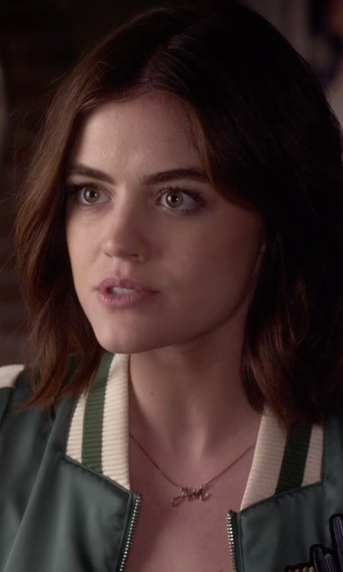 Lucy Hale with One Necklace Script Name Necklace in Pretty Little Liars