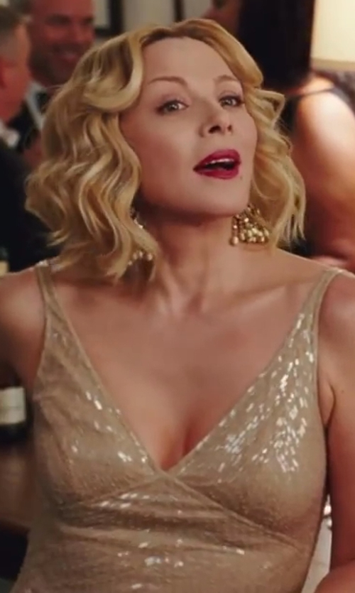 Kim Cattrall with Naeem Khan Gold V-Neck Dress in Sex and the City 2