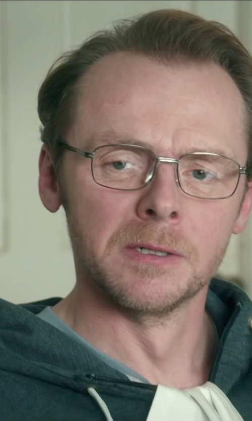 Simon Pegg with American Apparel Flex Fleecezip Hoodie Jacket in Absolutely Anything
