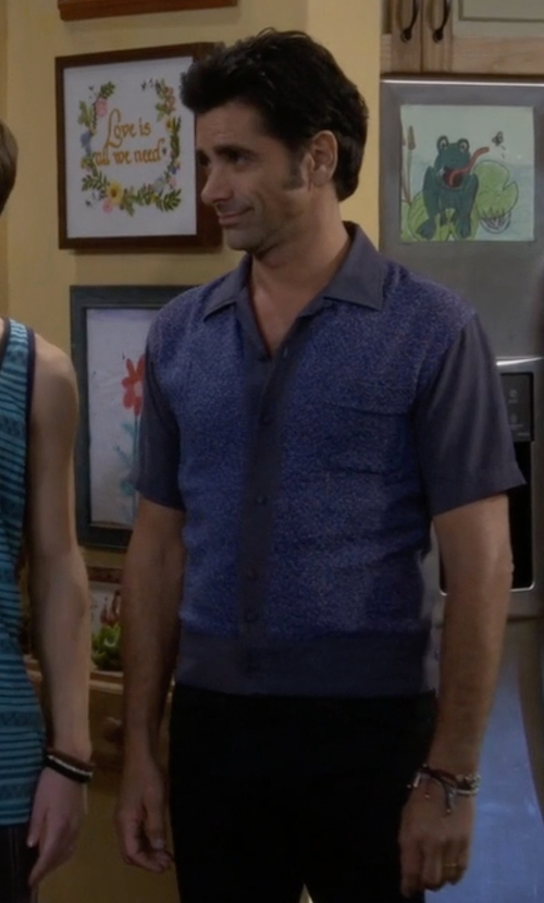 John Stamos with Dondup Button Down Polka Dot Shirt in Fuller House