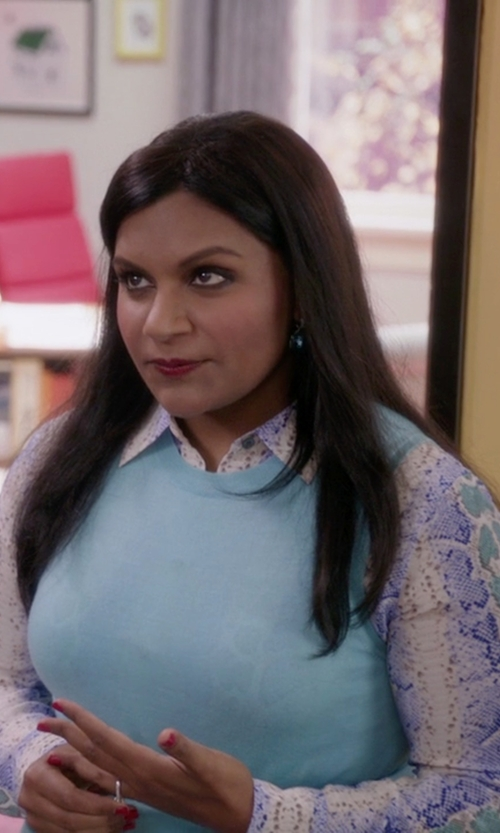 Mindy Kaling with Equipment Python Skin Print Shirt in The Mindy Project