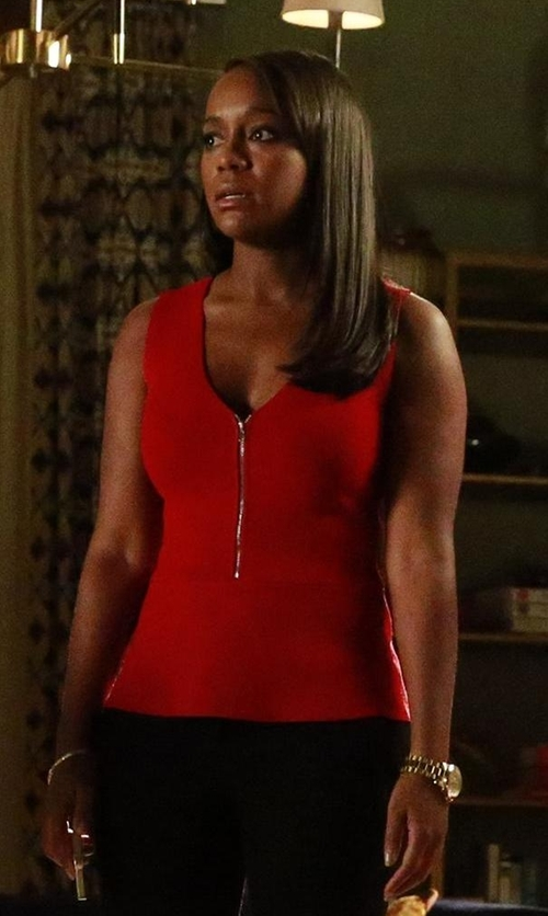 Aja Naomi King with A.L.C. Exclusive Jody Zip-Front Top in How To Get Away With Murder