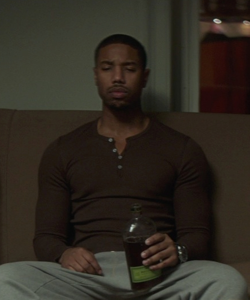Michael B. Jordan with Burberry Brit Carlisle Henley Shirt in That Awkward Moment