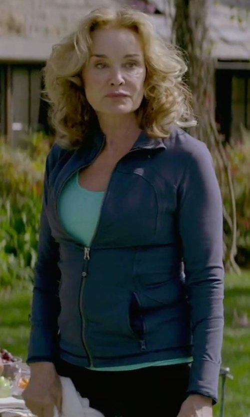 Jessica Lange with Lands' End Women's Tall T-200 Fleece Jacket in The Gambler
