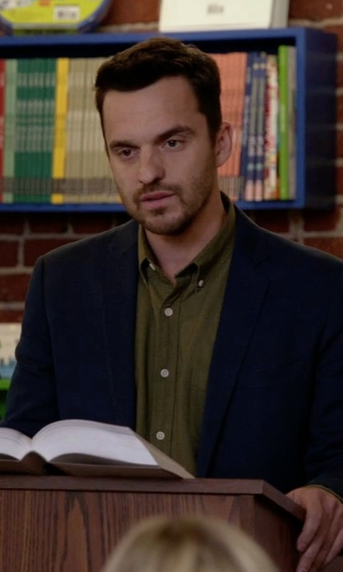 Jake Johnson with Michael Kors Slim-Fit Two-Button Wool Suit in New Girl