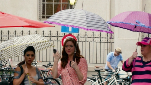 Brittany Snow with Shedrain Polka Dot Stripes Umbrella in Pitch Perfect 2