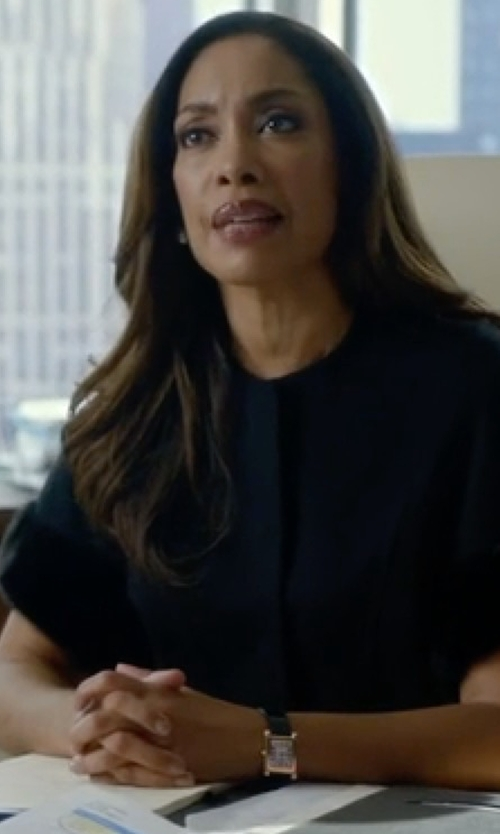 Gina Torres with Cartier Yellow Gold & Alligator Strap Watch in Suits