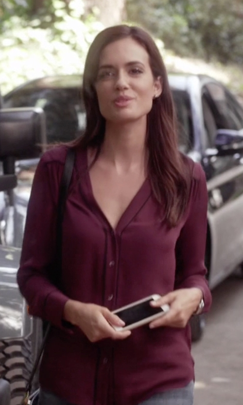 Torrey DeVitto with Vince Silk Blouse w/Contrast Piping in Pretty Little Liars