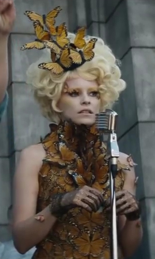 Elizabeth Banks with Alexander McQueen Spring 2011 Structured Dress in The Hunger Games: Catching Fire