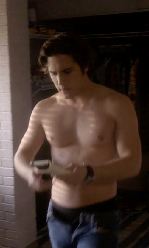 Diego Boneta with Emporio Armani Chronograph Leather Strap Watch in Scream Queens