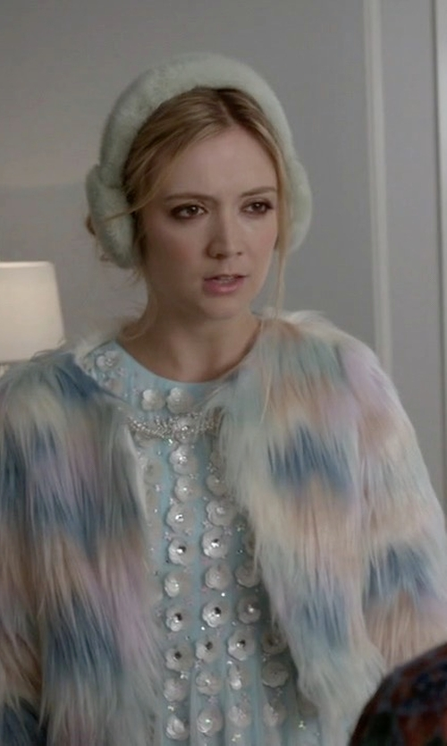 Billie Lourd with ASOS Collection Salon 3D Floral Strip Skater Dress in Scream Queens