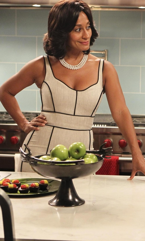 Tracee Ellis Ross with Hervé Léger Along The Lines Sheath Dress in Black-ish