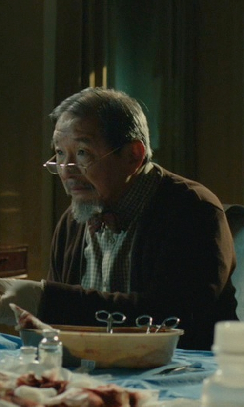 Randall Duk Kim with Pendleton Shetland Cardigan Sweater in John Wick