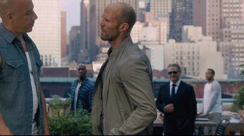 Jason Statham with Armani Collezioni Bomber Jacket in The Fate of the Furious