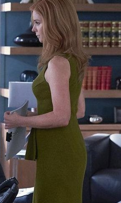 Sarah Rafferty with Hugo Boss Wool Peplum Sheath Dress in Suits