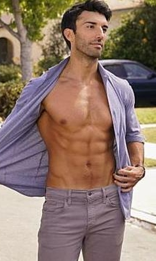 Justin Baldoni with Armani Collezioni Micro-Check Long-Sleeve Sport Shirt in Jane the Virgin