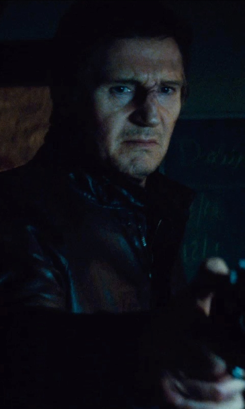 Liam Neeson with Lucky Brand Roadster Leather Jacket in Run All Night