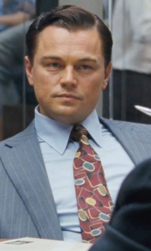Leonardo DiCaprio with Brooks Brothers Ancient Madder Small Paisley Print Tie in The Wolf of Wall Street