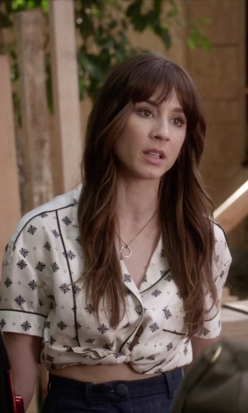 Troian Bellisario with Talbots Sterling Silver Double-Ring Necklace in Pretty Little Liars