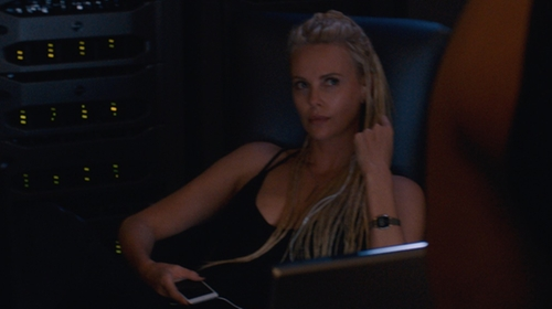 Charlize Theron with Fossil Q Venture Gen 3 Bracelet Smart Watch in The Fate of the Furious