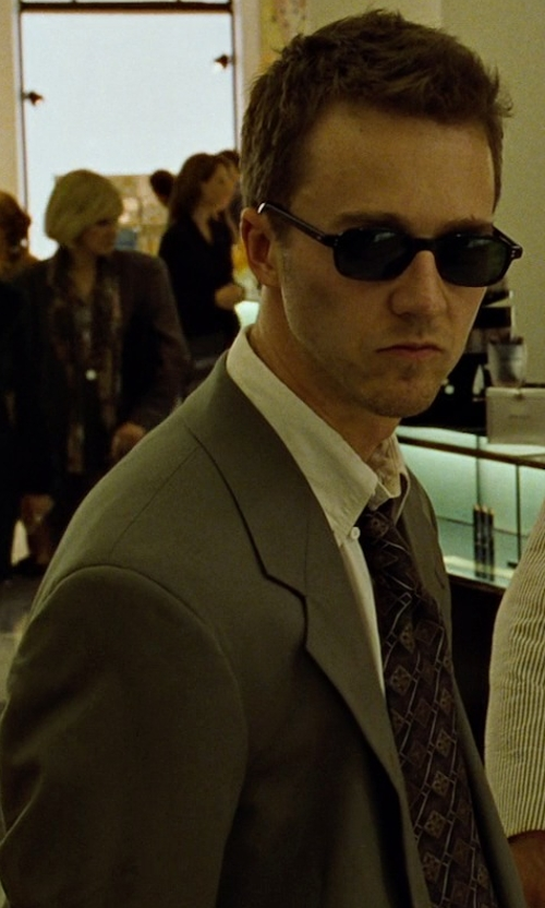 Edward Norton with David Donahue Silk Dot Tie in Fight Club