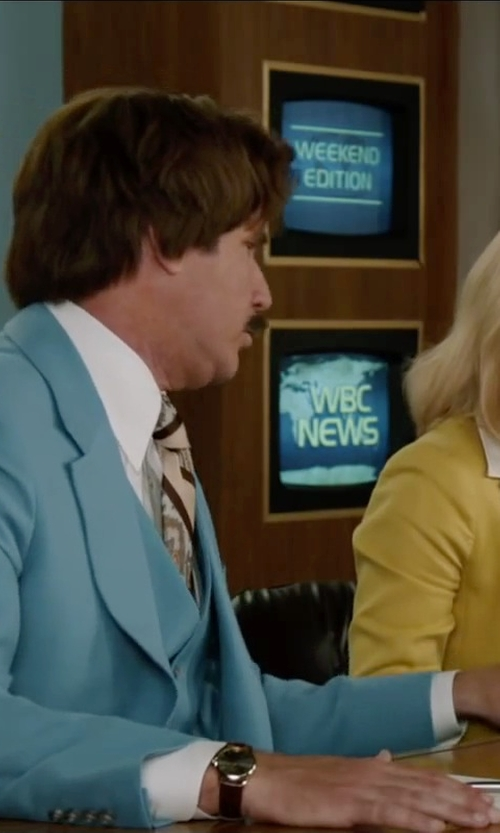 Will Ferrell with Topman Blue Skinny Three Piece Suit in Anchorman 2: The Legend Continues