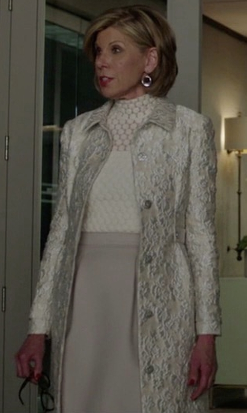 Christine Baranski with St. John Silk-Blend Patterned Jacket in The Good Fight