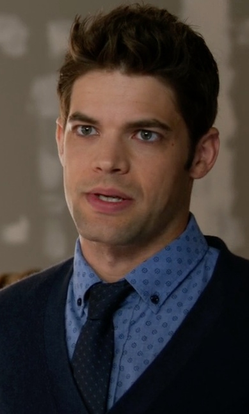 Jeremy Jordan with Todd Snyder Dotted Wool Skinny Tie in Supergirl