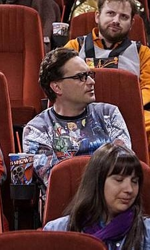 Johnny Galecki with Fifth Sun Star Wars Vintage Hoth Fleece Sublimation Print Sweater in The Big Bang Theory