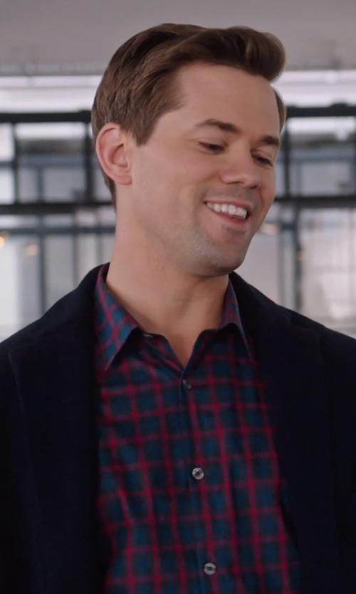 Andrew Rannells with Lanai Collection Trim Fit Herringbone Check Sport Shirt in The Intern