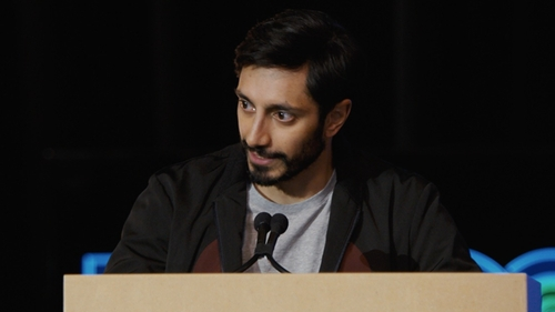 Riz Ahmed with Uniqlo Packaged Dry Crewneck Short-Sleeve T-Shirt in Jason Bourne