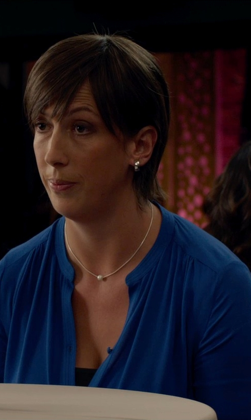 Miranda Hart with Shoptiques Silk Long-Sleeve Blouse in Spy