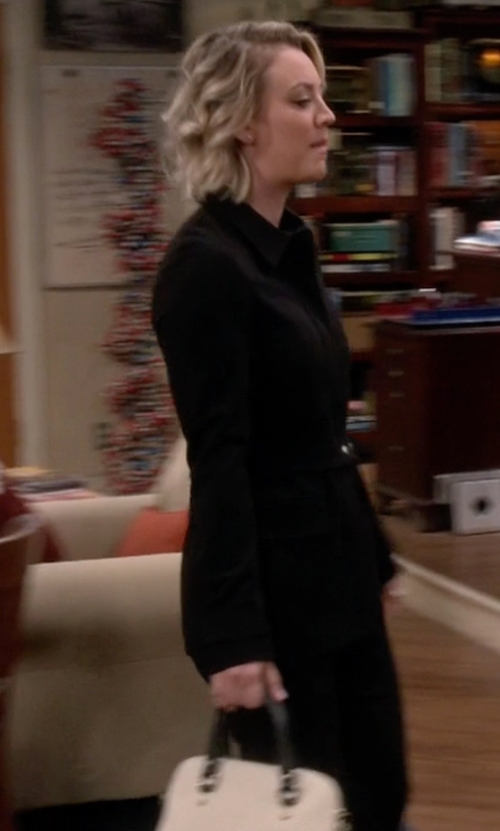 Kaley Cuoco-Sweeting with T Tahari Single-Breasted Trench Coat in The Big Bang Theory