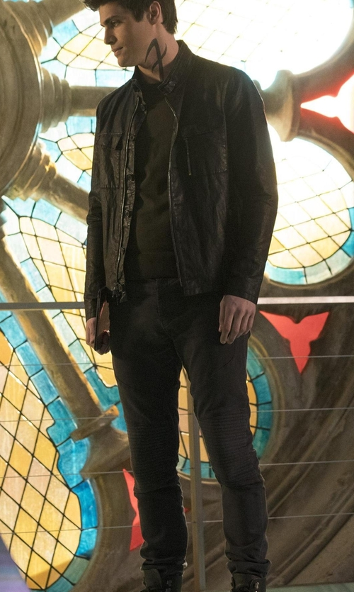 Matthew Daddario with J Brand Bearden French Terry Moto Jeans in Shadowhunters