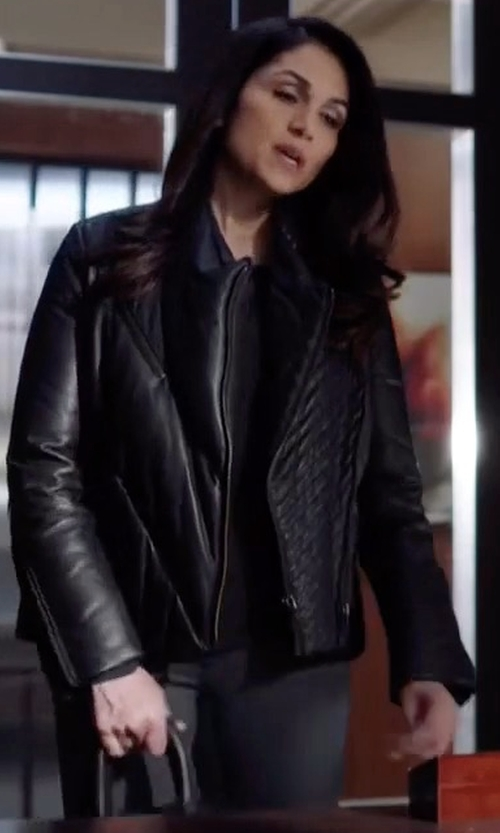 Lela Loren with Andrew Marc Liv Leather Jacket in Power