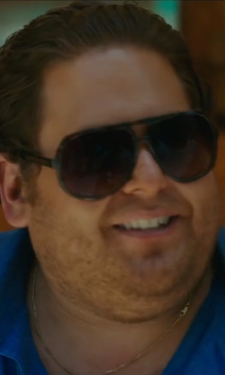 Jonah Hill with Gucci Logo Temple Aviator Sunglasses in War Dogs