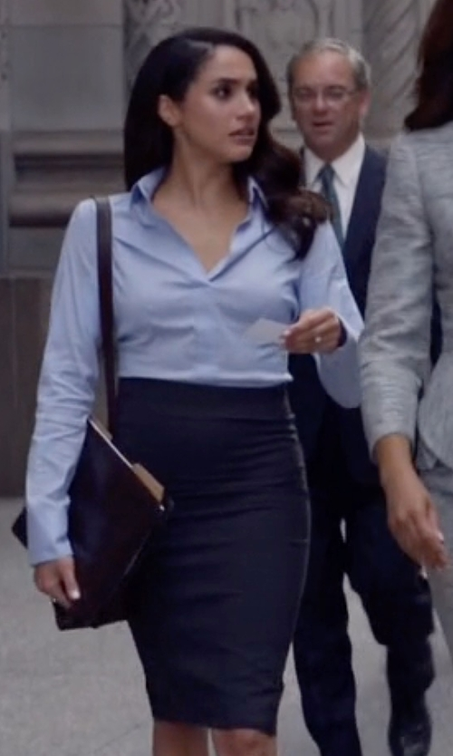 Meghan Markle with Eileen Fisher Silk-Cotton Pencil Skirt in Suits