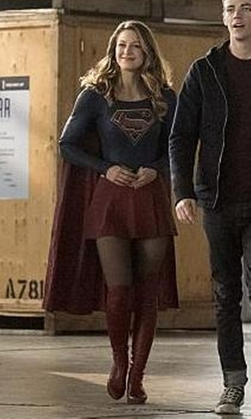 Melissa Benoist with Colleen Atwood (Costume Designer) Custom Made Supergirl Costume in The Flash