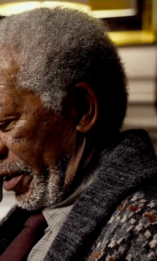 Morgan Freeman with Hartford Jacquard Wool Cardigan With Wooden Buttons in Lucy
