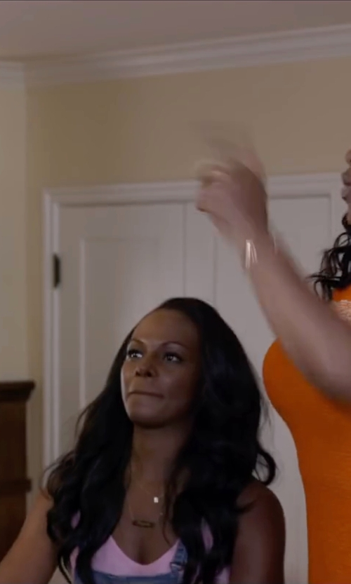 Tika Sumpter with Ginette_ny Rose Gold Strip Necklace in Ride Along 2