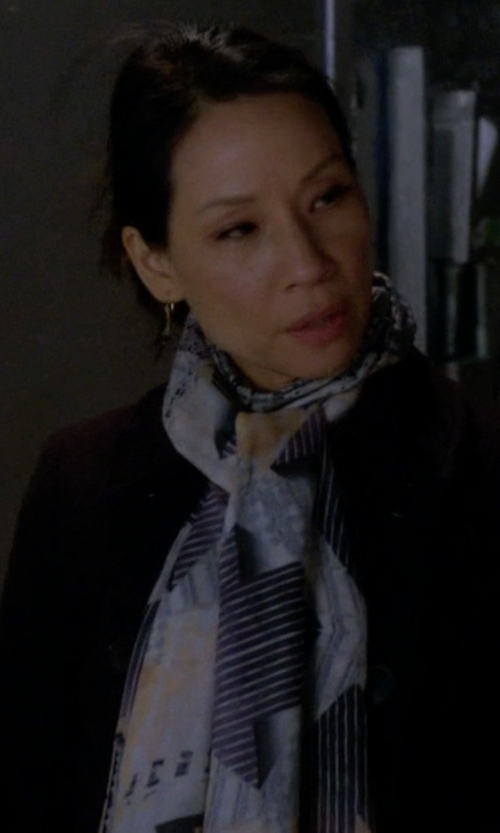 Lucy Liu with Yigal Azrouël Free Fly Print Scarf in Elementary