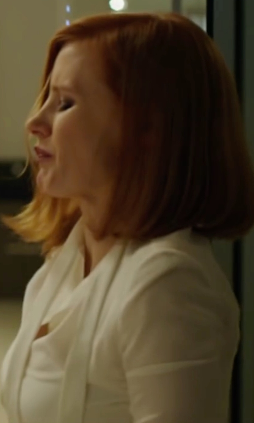 Jessica Chastain with Alice and Olivia Cora Tie-Neck Blouse in Miss Sloane