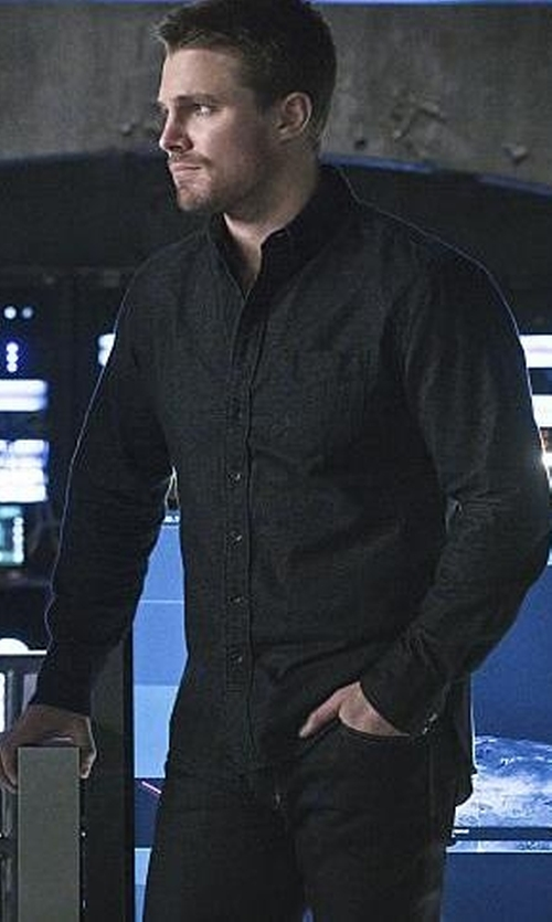 Stephen Amell with Woodwood Button Down Shirt in Arrow