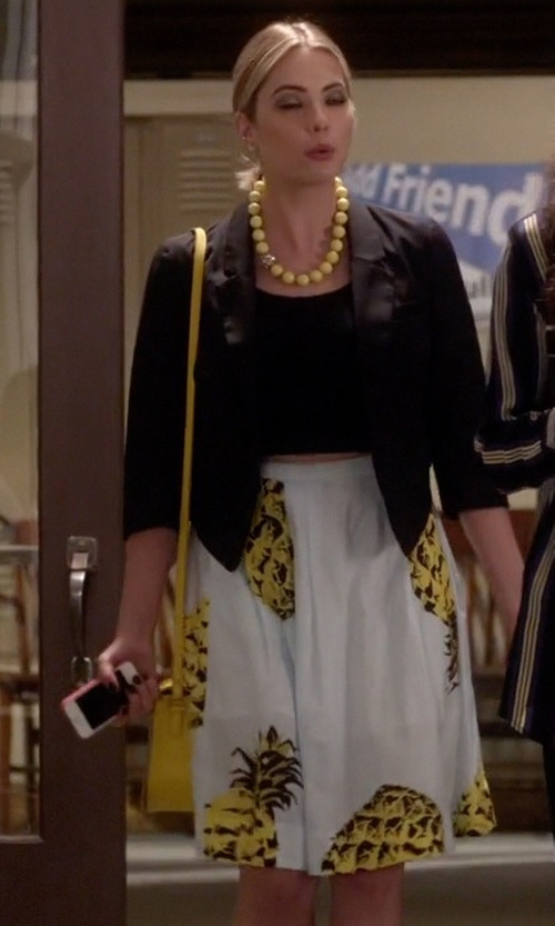 Ashley Benson with MSGM Pineapple Print Midi Skirt in Pretty Little Liars