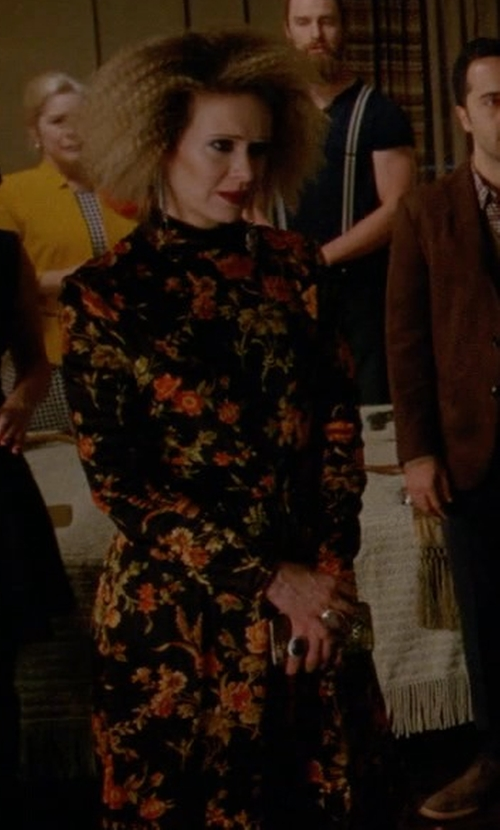 Sarah Paulson with Saint Laurent Floral Print Blouse Dress in American Horror Story