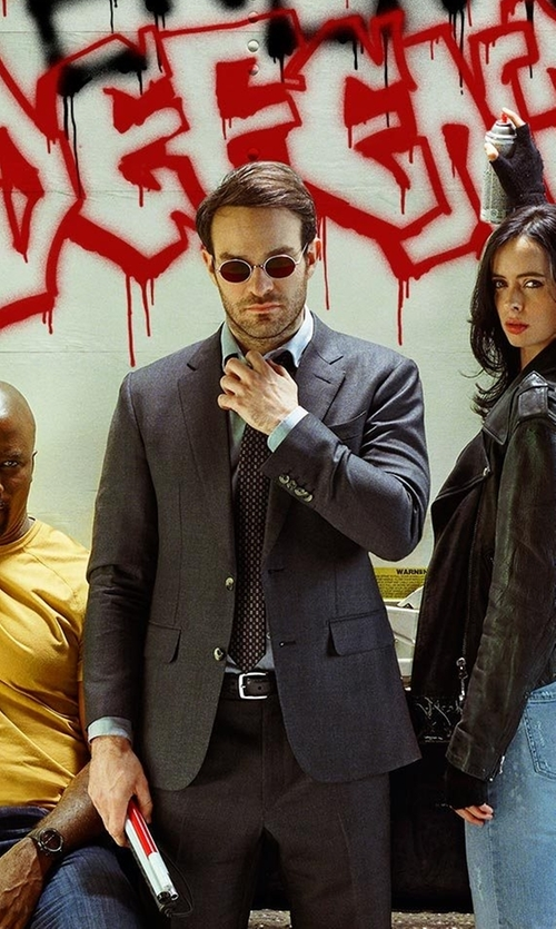 Charlie Cox with Stephanie Maslansky (Costume Designer) Custom Made Red Lenses Round Sunglasses in The Defenders