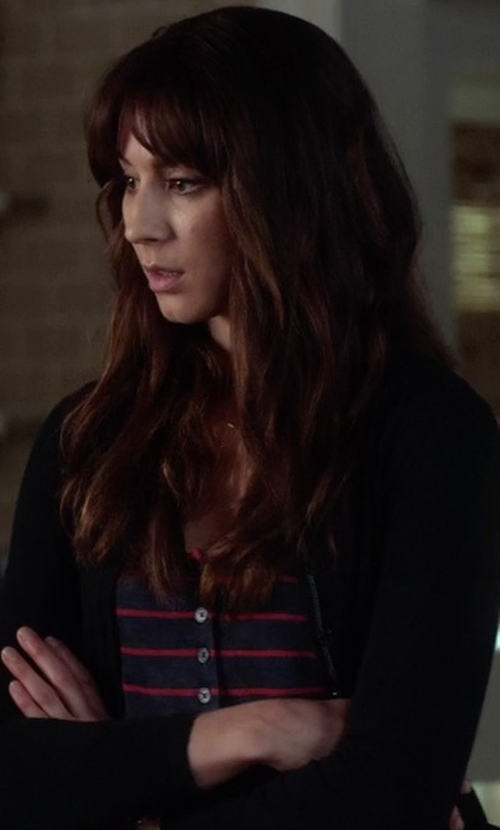 Troian Bellisario with Frame Denim Le Nautical Striped Henley Tank Top in Pretty Little Liars